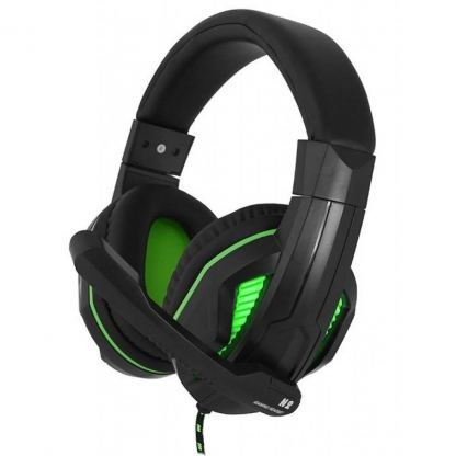 Наушники GEMIX N2 LED Black-Green Gaming
