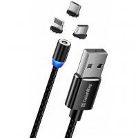 Дата кабель Кабель Colorway USB - 3в1 (Lightning+MicroUSB+Type-C) Magnet ColorWay (CW-CBUU020-BK)