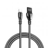 Дата кабель USB 2.0 AM to Lightning 1.0m metal spring black Colorway (CW-CBUL013-BK)