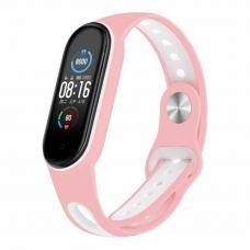 Ремешок для фитнес браслета BeCover Sport Style для Xiaomi Mi Smart Band 5 Pink-White (705173)