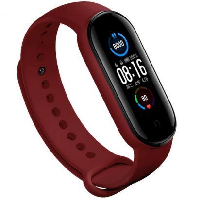 Ремешок для фитнес браслета BeCover Silicone для Xiaomi Mi Smart Band 5 Burgundy Red (705063)