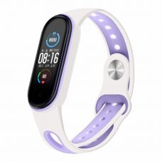 Ремешок для фитнес браслета BeCover Sport Style для Xiaomi Mi Smart Band 5 White-Purple (705175)