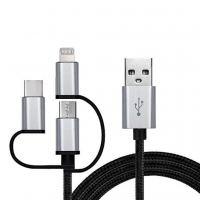 Дата кабель USB 2.0 AM to 3in1 1.0m Premium black REAL-EL (EL123500035)